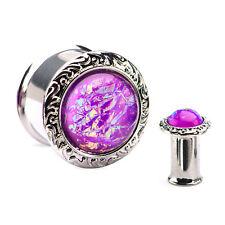 """PAIR-Foil Purple Jeweled Steel Double Flare Ear Plugs 12mm/1/2"""" Gauge Body Jewe"""
