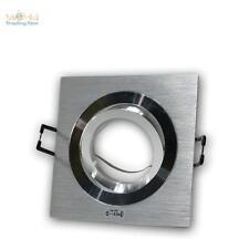 3x Foco Empotrable Anguloso Aluminio Cepillado Orientable MR16 GU5, 3