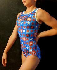 NWOT GK Elite Gymnastics Leotard Star Printed Foil Size AS