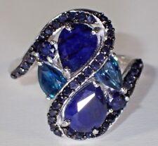 NATURAL BLUE-BLACK SAPPHIRE-LONDON BLUE TOPAZ 925 SILVER SIZE 6.5 RING   #377