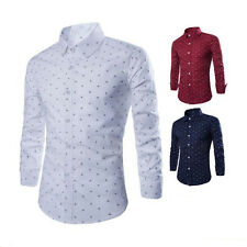 1Pcs T-Shirt New Fashion Anchor Tops Slim Fit Formal Casual Long Sleeve Men's