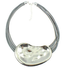 Statement large hammered finish chunky pendant grey cord leather choker necklace