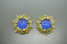 VINTAGE 50s primi Gripoix francese blu grandi versare Orecchini in vetro