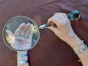 A Rare Extra Large Unique Crystal Cut Glass Antique Magnifying Glass.
