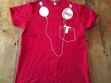 Coca Cola Coke Soda Pop Ipod MP3 Player Headphones Red & White  T Shirt M