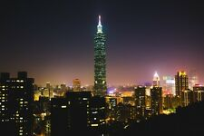 TAIPEI 101 TAIWAN CITYSCAPE SKYLINE POSTER PRINT 24x36 HI RES