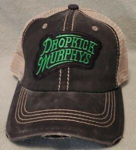 Dropkick Murphys Vintage Mesh Trucker Hat Distressed Black & Khaki Hat