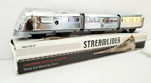 Schylling Streamliner Chrome Plated Tin Three Car Wind-Up Train Classic Tin