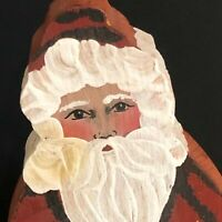 Santa Claus Hand Painted Figure Wooden Artist Signed Stands Christmas Decor VTG