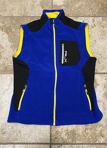 polo ralph lauren rlx fleece vest blue size large