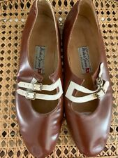 Vintage Italian Leather Brown & Cream Flats Shoes-Moda del Giorno Bologna