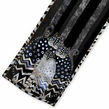 Laurel Burch - Black Patterned Polka Dot Cat 100% Silk Scarf