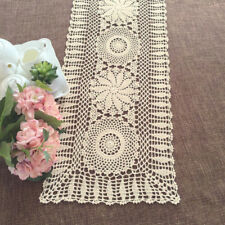 Vintage Beige Hand Crochet Cotton Lace Doily Rectangle Table Runner 13X60inch