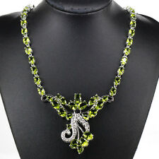 Stunning S/Silver Green Peridot Necklace & AAA Cz Ac Weimaraner Rescue charity