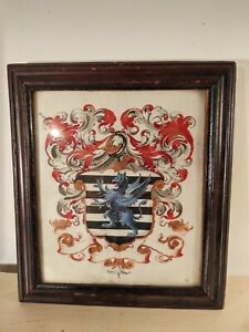 Coat of Arms Painted on Vellum mid 18th Century ornate griffin