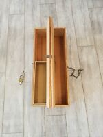 """Antique Handcrafted Large Wooden Toolbox Handle Chain Stanley Lock 29""""x12""""x7"""""""