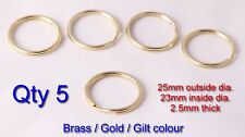 5x Gilt Split Ring 25mm keyring shiny brass gold loop key rings, UK Stock