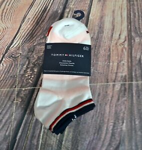 NWT WOMEN'S TOMMY HILFIGER ANKLE SOCKS 6 PAIRS WHITE MULTICOLOR SZ 5-9.5