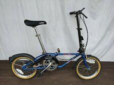 "1992 Blue Dahon Classic III Folding Bike EP203 Vintage 16"" Wheels 3 Sp Camp RV"