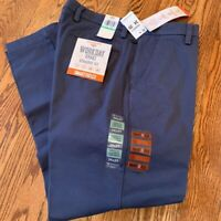 Dockers Mens Workday Chino Pants Blue Straight Fit Stretch Flat Front 34x29 New