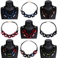 Fashion Women Acrylic Pendant Jewelry Chain Chunky Statement Choker Necklace