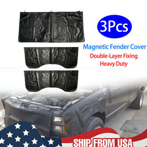 3Pc L+R+F Magnetic Fender Cover Mechanics Work Mat Protector Leather W/ Hook US