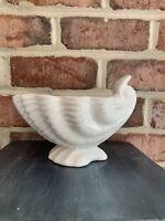 Vintage White Porcelain Shell Planter Dish Trinket Beach Ocean