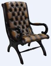 Chesterfield York Slipper Stand Armchair Antique Tan Leather