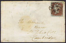 1841 1d Red Pl 26 RE 4m CLOGGED NOTTINGHAM CROSS on cover see Rockoff