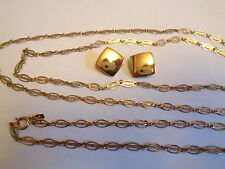 Vintage PARK LANE 54 In LONG Ornate Gold Tone Oval Link Chain Necklace Earrings
