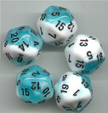 NEW RPG Dice Set of 5 D20 - Chessex Gemini Teal-White