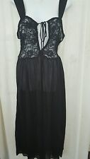 SEXY VENTURA  ANKLE LENGTH  BLACK NYLON NIGHTGOWN WITH LACE TOP SIZE 1X GIFT