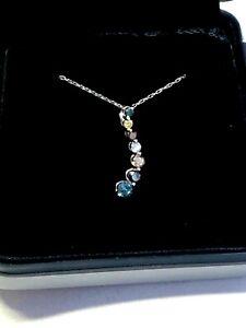 NEW .50ct DIAMOND 9ct WHITE GOLD JOURNEY PENDANT, multi-colour diamonds