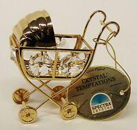 3246 Gold Pram Kinderwagen Swarovski Steine Kristall 24 Karat Crystal 6cm Deko