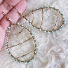 Beads Dangle Drop Hook Earrings Fashion Womens Light-Gold-Tone Ring Chains Blue