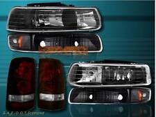 99-2002 CHEVY SILVERADO HEADLIGHTS / BUMPER LIGHTS / DARK RED TAIL LIGHTS