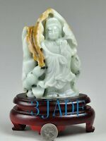 CertifiedCarved Natural Jadeite Jade Carving /Sculpture: Kwan Yin/Guanyin Statue
