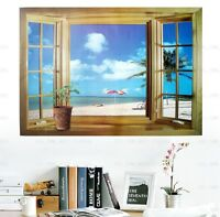 Large 3D Window Beach Sea View Wall Stickers Mural Art Decal Paper Lounge Office