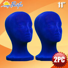 "11"" Styrofoam Foam blue velvet Mannequin Manikin head display wig hat glasses"