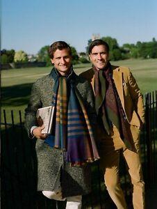 Drake's Kashmiri multicoloured shawl scarf (100% cashmere, 200cm x 50cm, AW2018)