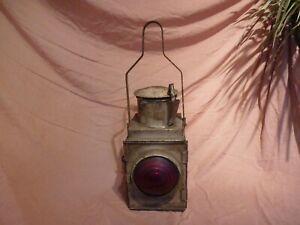 VINTAGE COLLECTABLE RED LENS B.R BRITISH RAIL,GUARD,TRAIN,BRAKE VAN GAS OIL LAMP