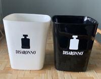 2 Disaronno Ameretto Square Rock Glasses Black White Barware Collectible
