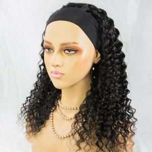 Headband Brazilian curly human hair wig