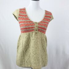Free People Baby Doll Sweater Cable Knit Top  M Wool Blend Cap Sleeves Beige Red
