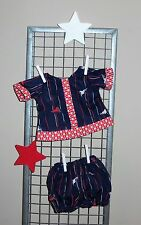 "Handmade Clothes For 14"" - 16"" Baby Doll - ""Let's Play"" Blue & Red 2pc Play Set"