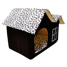 Hundehütte Katzenhütte Hundehaus Hundehöhle Haustier Schlafplatz Leopard Bett JO