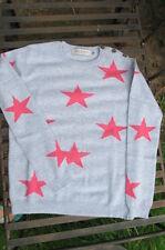 new 100% cashmere SCOTT& SCOTT  grey jumper +fuscia pink STARS rrp £295 bnwt lge