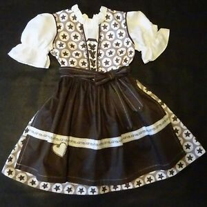 New German Bavarian Girls Dirndl Dress + Apron 4 years