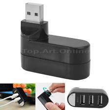 Aktiv Verteiler Adapter USB Kabel Nabe Netzteil 3 Ports USB 2.0 Hub Schwarz