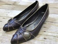 Matisse Leather Flats Pointed Toe Slip On Shoe Brown Leather Gold Trim Women 7.5
